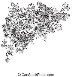 gráfico, dos, ilustración, mano, mariposas, vector, pe,...