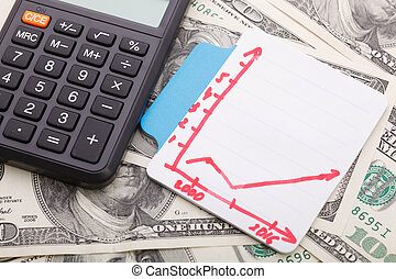 gráfico, e, calculadora, ligado, dinheiro, fundo