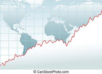 gráfico, economía global, crecimiento financiero, mapa