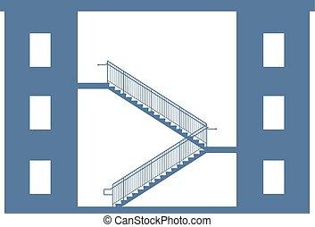 gráfico, edificios., ilustración, vector, entre, escaleras