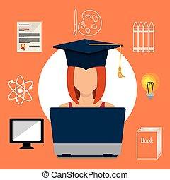 gráfico, educação, aprendizagem, online