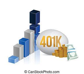 gráfico, efectivo, ilustración, 401k, dinero, huevo