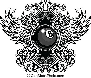 gráfico, eightball, bilhar, ornate