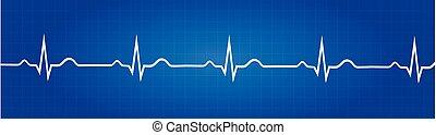 gráfico, electrocardiograma, normal