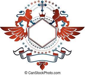 gráfico, emblema, com, leão, heraldic, animal, elemento, coroa real, e, religiosas, cross., heraldic, brasão, decorativo, logotipo, isolado, vetorial, illustration.