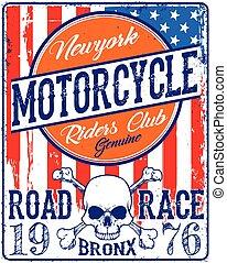 gráfico, emblema, cranio, vindima, tee, biker
