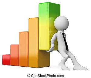 gráfico, empresa / negocio, personas., economía, barra, 3d, blanco