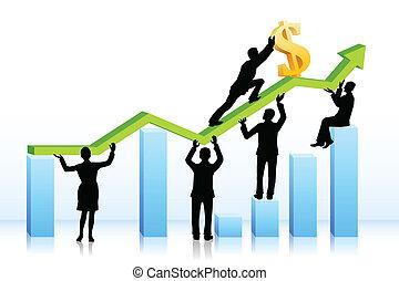 gráfico, empurrar, dólar, pessoas negócio