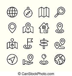gráfico, esboço, ícones, simples, collection., rota, modernos, mapa, location., vetorial, desenho, conceitos, linha, navegação, set., elementos