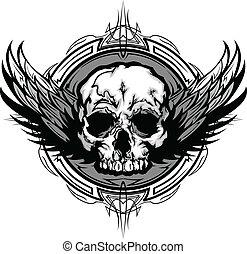 gráfico, esboço, cranio, tribal, asas, vetorial, ornate, ...