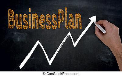 gráfico, escrito, businessplan, pizarra, mano