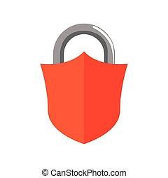 gráfico, escudo, proteção, sistema, padlock, vetorial, segurança, icon.