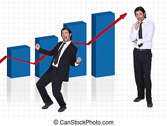gráfico, estava pé, financeiro, resultados, homem