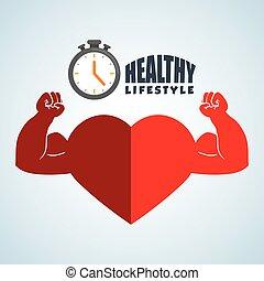 gráfico, estilo vida, ilustração, saudável, isolado,...