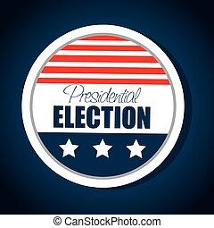gráfico, eua, botão, bandeira, eleição, presidencial