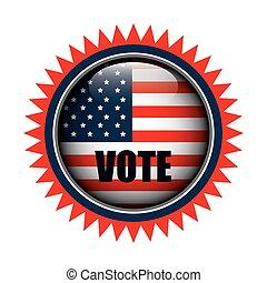 gráfico, eua, botão, bandeira, voto, ícone