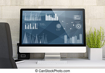 gráfico, finanças, workspace