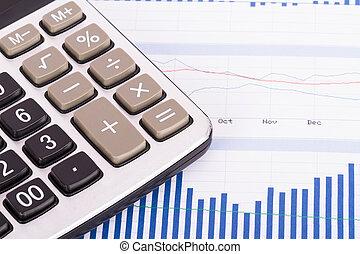 gráfico financiero, con, calculadora