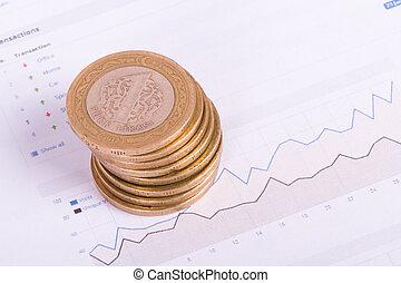 gráfico financiero, con, dinero