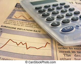gráfico financiero, y, calculadora
