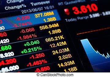 gráfico financiero, y, datos