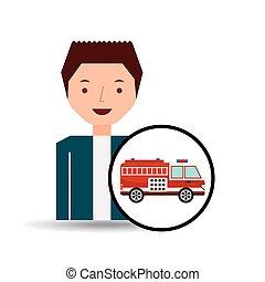 gráfico, firetruck, caricatura, homem, ícone