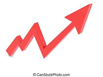 gráfico, flecha roja, arriba