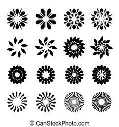 gráfico, flores, conjunto, negro, estrellas, geométrico,...