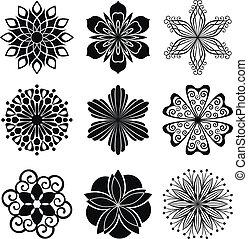 gráfico, flores