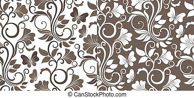 gráfico, folhas, pattern., seamless, dois, vetorial, luxo, fundo, variations., floral, flores