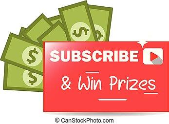 gráfico, ganhe, subscrever, vetorial, prêmios, bandeira