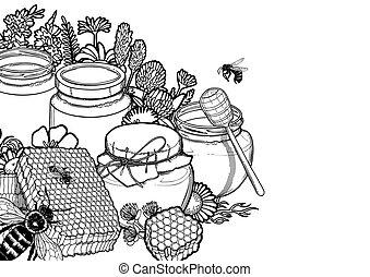 gráfico, garrafas, prado, cercado, mel, abelhas, favos mel, flores