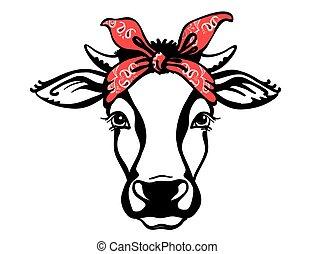 gráfico, granja, vaca, aislado, bandana., vector, cabeza ...