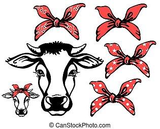 gráfico, granja, vaca, aislado, bandanas., vector, cabeza ...