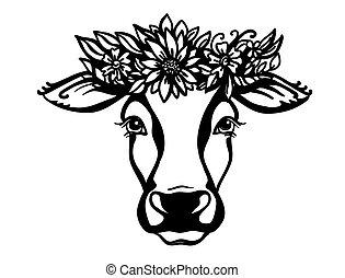 gráfico, granja, wreath., vaca, aislado, vector, cabeza ...