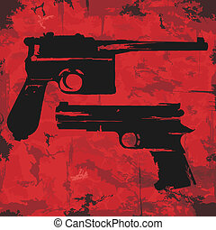 gráfico, grunge, vendimia, vector, armas de fuego, design.