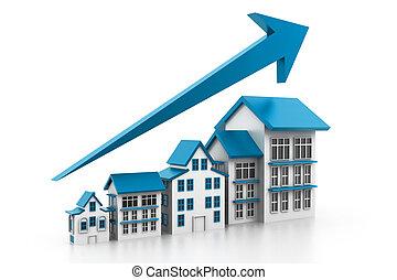 gráfico, habitação, mercado