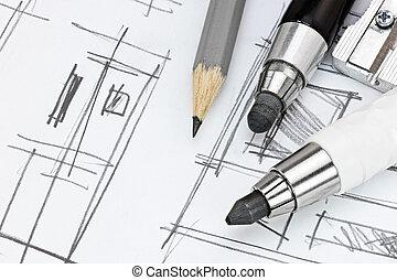 gráfico, habitación, trabajando, moderno, bosquejo, interioristas, herramientas