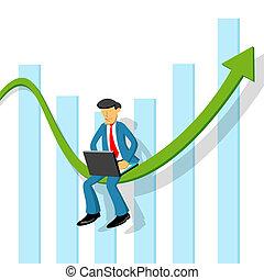 gráfico, homem negócio