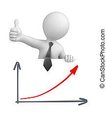 gráfico, homem negócios, polegar cima