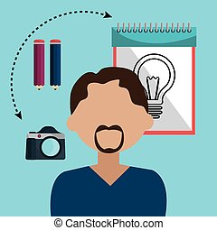 gráfico, idéias, desenhista, criativo
