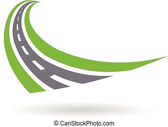 gráfico, ilustração, desenho, logotipo, estrada curvada, ...