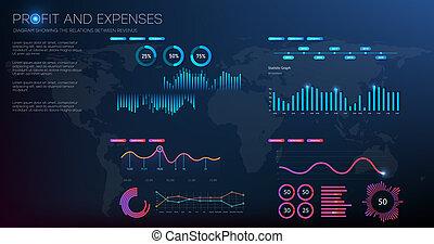 gráfico, information., diagrama, estoque, financeiro, expenses., lucro, vetorial, illustration.