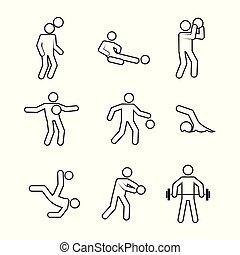 gráfico, jogo, esboço, abstratos, ilustração, vetorial, ativo, símbolo atletismo