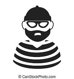 gráfico, ladrón, vector, hombre, criminal, icono