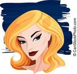 gráfico, loiro, mulher, vetorial, bonito, retrato, caricatura, ilustração