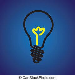 gráfico, luz colorida, symbol-, vector, bombilla incandescente, icono