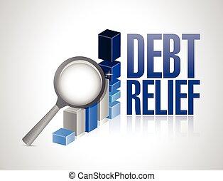 gráfico, magnificar, empresa / negocio, deuda, alivio