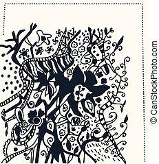 gráfico, -, mano, motivo, diseño, floral, dibujado, tarjeta