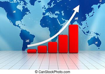 gráfico, mapa crescimento, negócio
